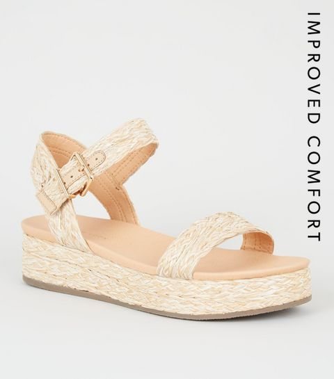 c53faadb25f27 ... Off White Straw Effect Flatform Footbed Sandals ...