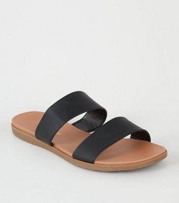 fb86efc79f9f6 black-2-strap-footbed-sliders by new-look
