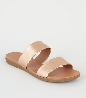 Rose Gold 2 Strap Footbed Sliders