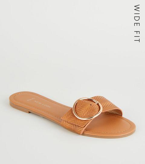 cc4a188e5a59 ... Wide Fit Tan Woven Strap Sliders ...