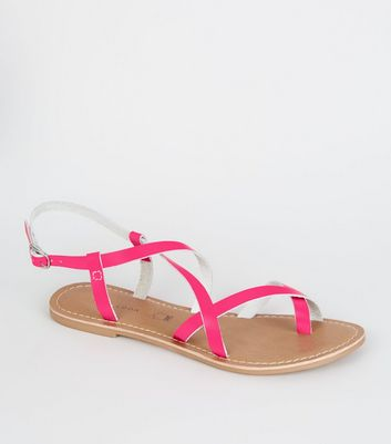 Pink Neon Leather Strappy Flat Sandals