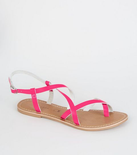 a1bdd3f11 ... Pink Neon Leather Strappy Flat Sandals ...