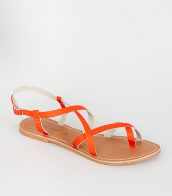 Orange Neon Leather Strappy Flat Sandals