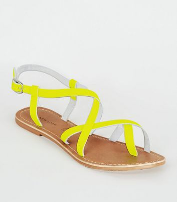 Yellow Neon Leather Strappy Flat Sandals