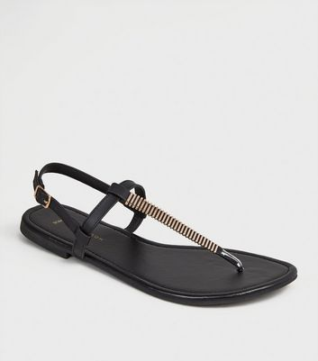 Wide Fit Black Bar Strap Flat Sandals