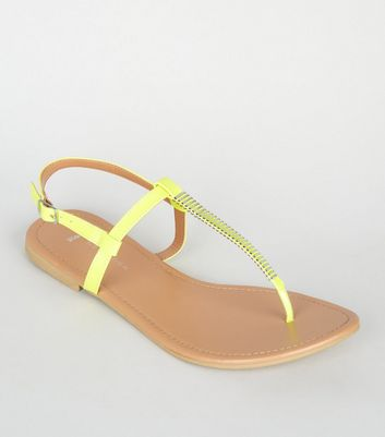 Wide Fit Green Neon Bar Strap Flat Sandals