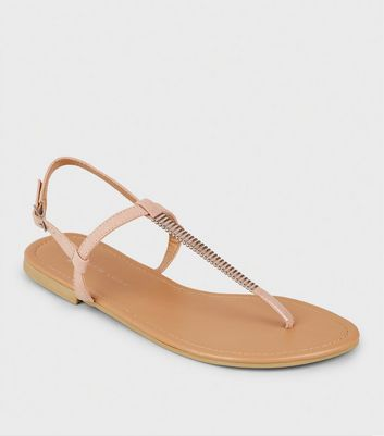 Wide Fit Nude Bar Strap Flat Sandals