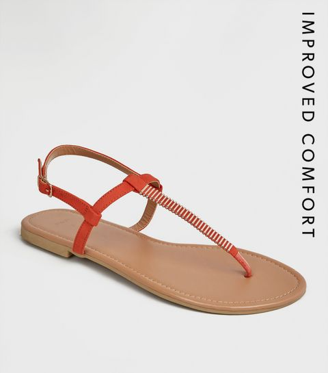 539467b6146 ... Wide Fit Orange Bar Strap Flat Sandals ...