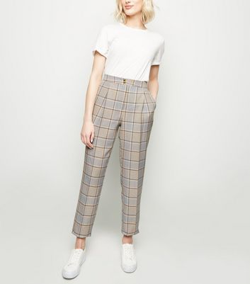 Tall Multicoloured Check Tapered Trousers