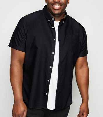 Plus Size Black Short Sleeve Oxford Shirt