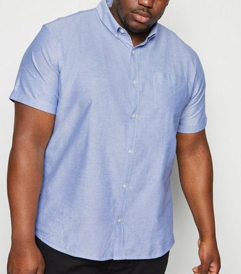 Plus Size Pale Blue Short Sleeve Oxford Shirt