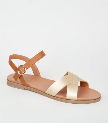 Wide Fit Gold Metallic Leather-Look Footbed Sandals