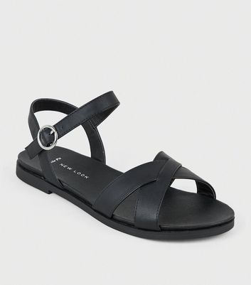 Wide Fit Black Leather-Look Footbed