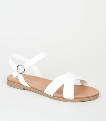 Wide Fit White Leather-Look Footbed Sandals