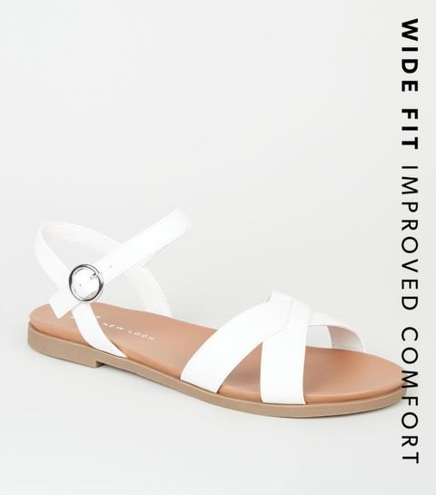 c9981f909 ... Wide Fit White Leather-Look Footbed Sandals ...