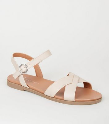 Wide Fit Nude Leather-Look Footbed Sandals