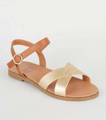 Wide Fit Gold Leather-Look Footbed Sandals