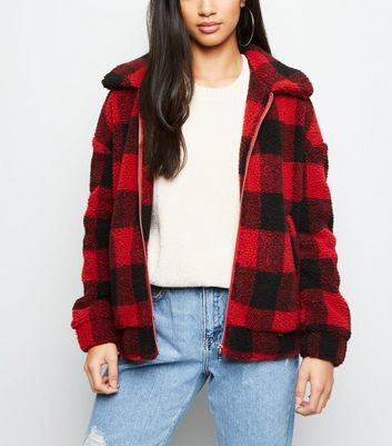 Petite Red Check Teddy Borg Bomber Jacket