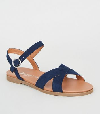 Wide Fit Navy Cross Strap Footbed Sandals
