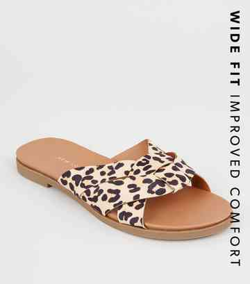 Wide Fit Stone Leopard Print Woven Footbed Sliders