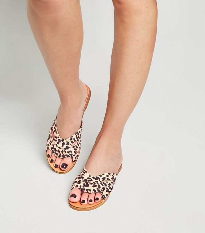 78b0417d8b46d ... Wide Fit Stone Leopard Print Woven Footbed Sliders. ×. ×. ×. Shop the  look