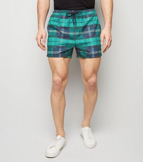 71580821459fa ... Green Check Print Swim Shorts ...