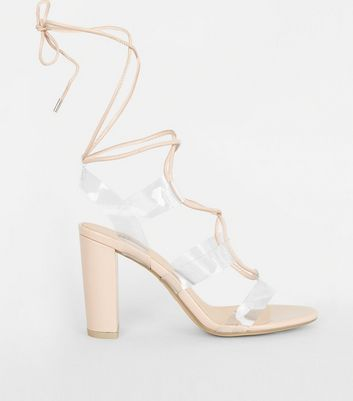 Nude Clear Strap Ghillie Lace-Up Heels