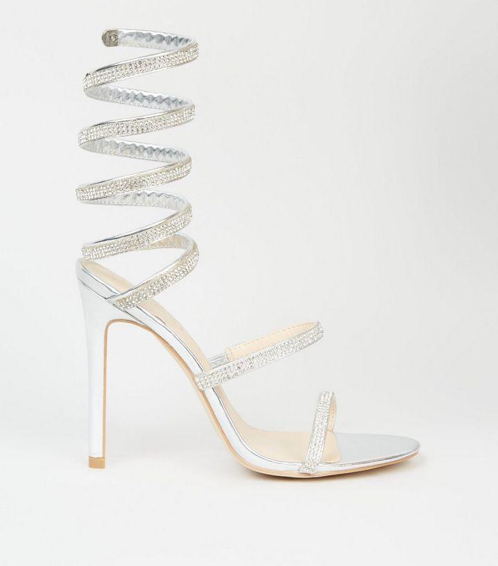 aaf0fe6507897b Silver Spiral Wrap Diamanté Stiletto Heels
