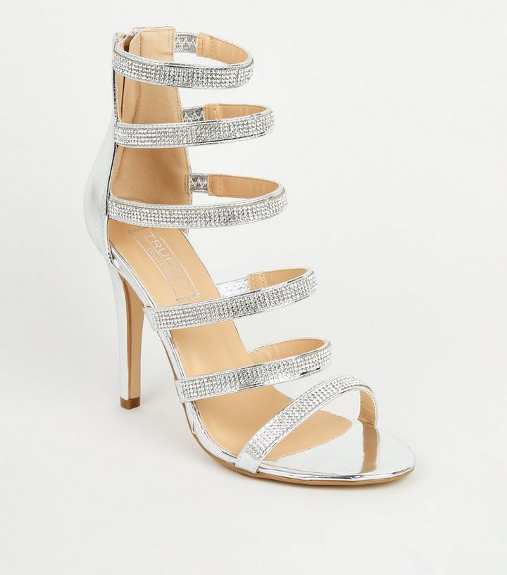 89d7fd472e0e Silver Diamanté Embellished Strappy Stiletto Heels