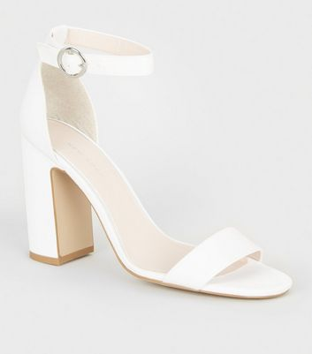 Off White Satin Block Heel Sandals by New Look