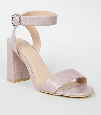 Lilac Faux Croc 2 Part Block Heels