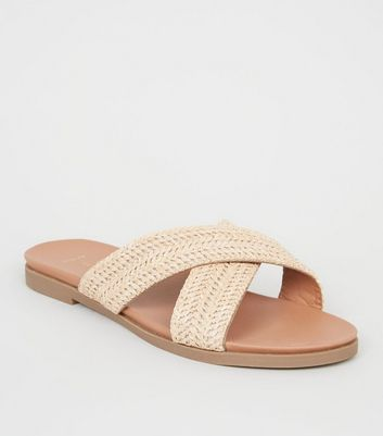 Wide Fit Camel Woven Cross Strap Footbed Sliders