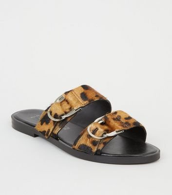 Wide Fit Brown Leather Faux Leopard Fur Sliders