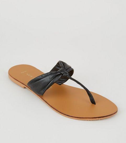 ef881e2f544 ... Wide Fit Black Leather Ruched Flip Flops ...
