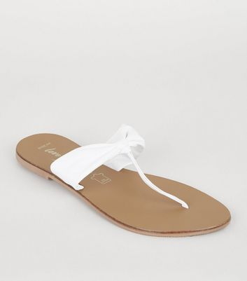 Wide Fit White Leather Ruched Flip Flops