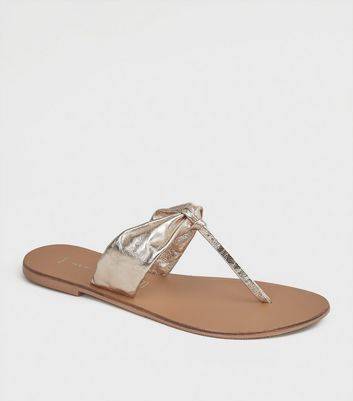 Wide Fit Gold Leather Ruched Flip Flops