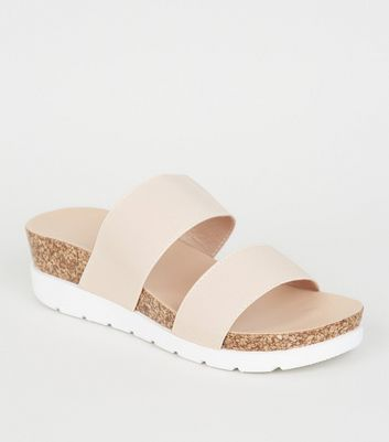 Wide Fit Nude Cork Flatform Sliders