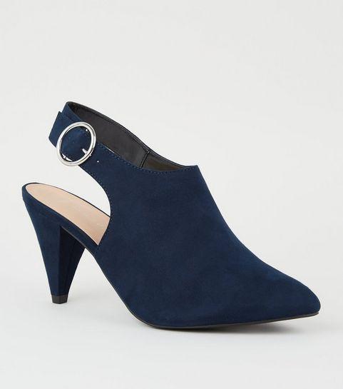bce0fce42d29 ... Wide Fit Navy Suedette Cone Heel Shoe Boots ...