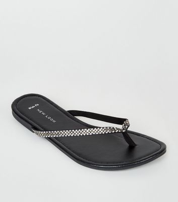Wide Fit Black Diamanté Embellished Flip Flops