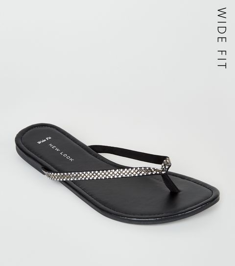 43bd402fc6985f ... Wide Fit Black Diamanté Embellished Flip Flops ...