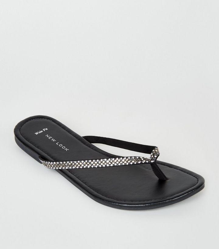 fd17f6caa Wide Fit Black Diamanté Embellished Flip Flops