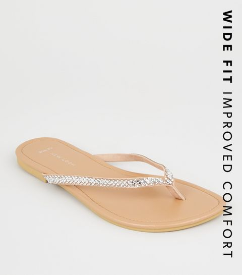 ac1d01865022d3 ... Wide Fit Nude Diamanté Embellished Flip Flops ...