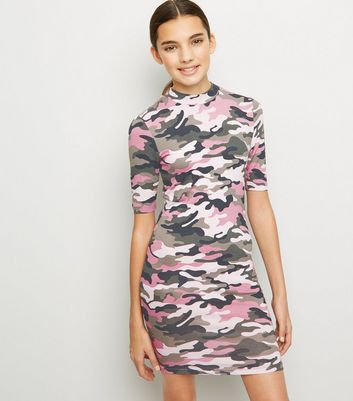 Girls Green Camo High Neck Bodycon Dress