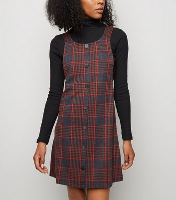 Black Houndstooth Button Front Pinafore Dress