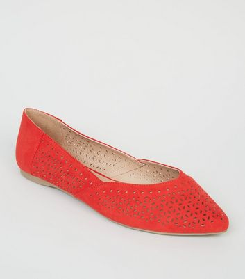 Wide Fit Red Suedette Cut Out Ballet Pumps