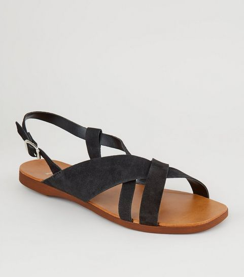 56ebc0b1ae9 ... Wide Fit Black Suede Strappy Flat Sandals ...