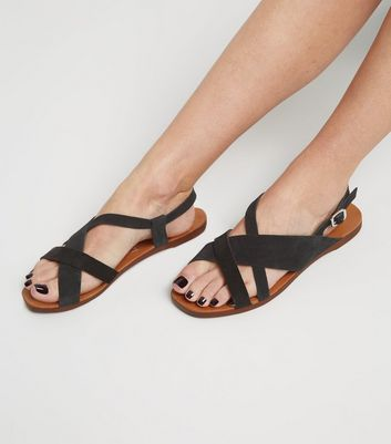 Wide Fit Black Suede Strappy Flat