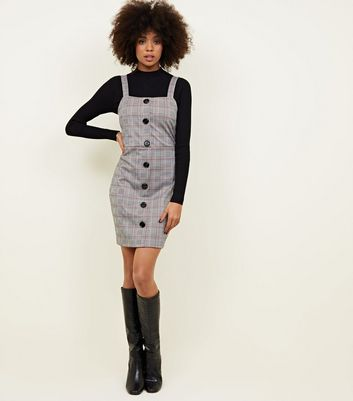 Cameo Rose Grey Prince of Wales Check Pinafore Dress