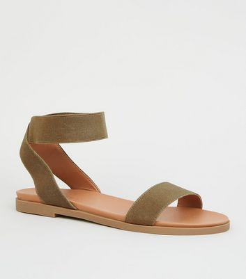 Wide Fit Khaki Elastic Ankle Strap Flat Sandals by New Look