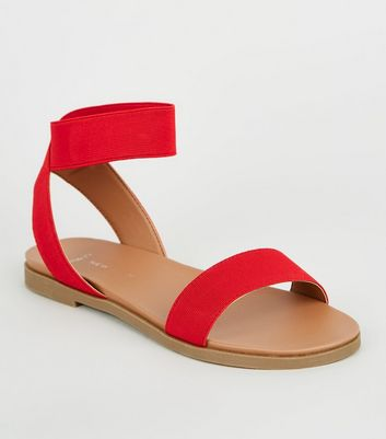 Wide Fit Red Elastic Ankle Strap Sandals